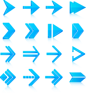 Blue arrows symbols pictograms icons, set isolated vector illustrationのイラスト素材 [FYI03092362]