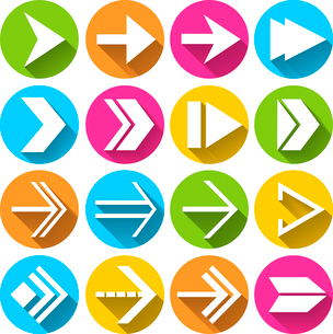 Arrows symbols  in circles pictograms set flat isolated vector illustrationのイラスト素材 [FYI03092363]