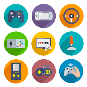 Video computer console games controller icons set of joystick keypad steering wheel isolated vectorのイラスト素材 [FYI03092365]