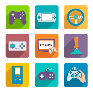 Video computer console games controller icons set of joystick keypad steering wheel isolated vectorのイラスト素材 [FYI03092367]
