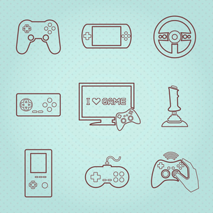 Video computer console games controller icons set of joystick keypad steering wheel isolated vectorのイラスト素材 [FYI03092370]