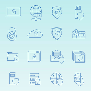 Information technology security icons set of wireless data transfer protection isolated vector illusのイラスト素材 [FYI03092371]