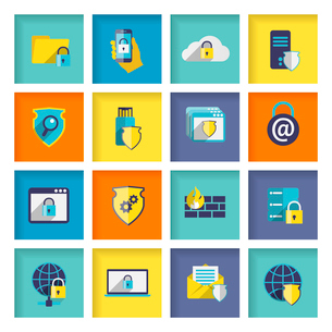 Information technology security flat icons set of cloud network connection firewall isolated vectorのイラスト素材 [FYI03092373]