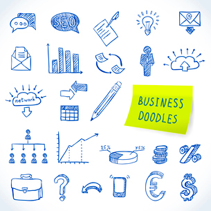 Doodle business set of finance economy marketing decorative icons isolated vector illustrationのイラスト素材 [FYI03092374]