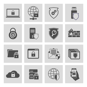 Information technology security pictograms collection of computer and online safety isolated vectorのイラスト素材 [FYI03092375]
