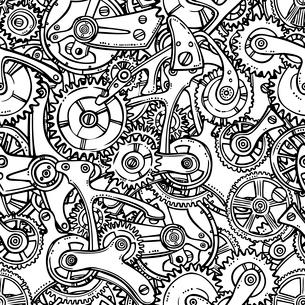 Sketch grunge cogwheel gears mechanisms seamless pattern vector illustrationのイラスト素材 [FYI03092376]