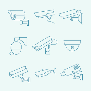 Security surveillance monitoring cameras contour icons set  isolated vector illustrationのイラスト素材 [FYI03092377]
