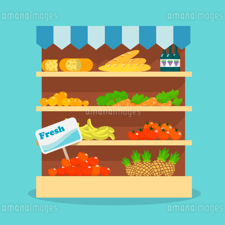Supermarket grocery shelf layout with fresh fruits, vegetables, bread and wine flat vector illustratのイラスト素材 [FYI03092379]