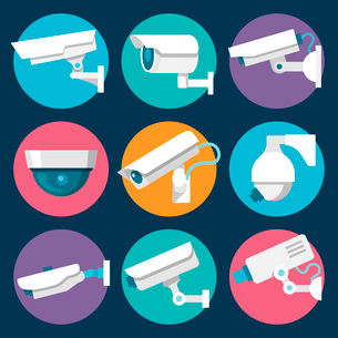 Digital CCTV multiple security cameras color stickers set isolated vector illustrationのイラスト素材 [FYI03092380]