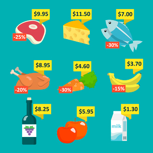Supermarket food and drink selection icons set with price tags and discount labels flat vector illusのイラスト素材 [FYI03092381]