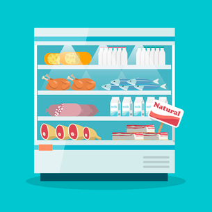 Supermarket thermocool refrigerator shelves food collection with milk fish meat cheese chicken sausaのイラスト素材 [FYI03092382]