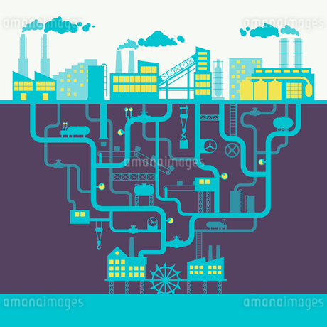 Industrial building factory or manufacturing plant background print vector illustrationのイラスト素材 [FYI03092383]