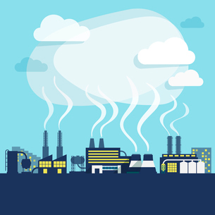 Industrial facilities of factory or manufacturing plant with pollution smoke background print vectorのイラスト素材 [FYI03092384]