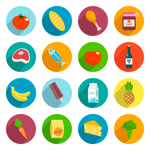 Online supermarket foods flat icons set of meat fish fruits and vegetables isolated vector illustratのイラスト素材 [FYI03092386]