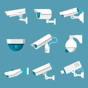24 hours security surveillance camera or CCTV icons set white on color background isolated vector ilのイラスト素材 [FYI03092388]