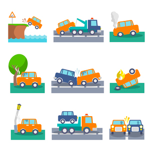 Colored car crash accidents and driving safety icons set isolated vector illustrationのイラスト素材 [FYI03092390]