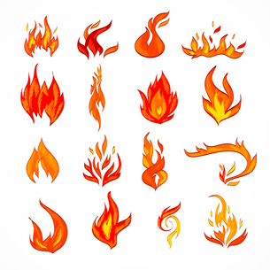 Fire flame burn flare decorative icons set isolated vector illustrationのイラスト素材 [FYI03092398]