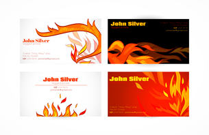Fire flames hot warm paper business card set isolated vector illustrationのイラスト素材 [FYI03092399]