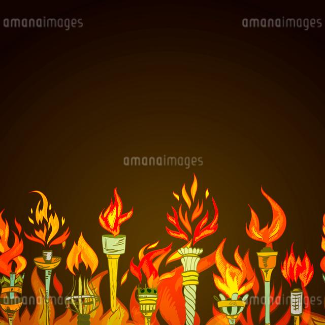 Fire glowing flame retro sketch torch winner symbol seamless ornament border vector illustrationのイラスト素材 [FYI03092401]