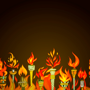 Fire glowing flame retro sketch torch winner symbol seamless ornament border vector illustrationのイラスト素材 [FYI03092401]