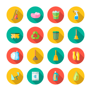Cleaning dusting and sanitation icons set of can bucket spray plunger isolated vector illustrationのイラスト素材 [FYI03092402]