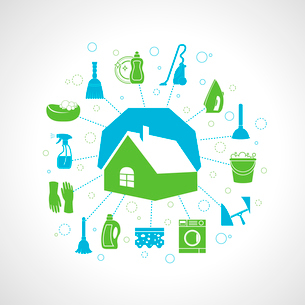 Cleaning washing concept with house and housework icons set vector illustrationのイラスト素材 [FYI03092403]