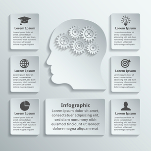 Paper human head with gears cogwheels and infographic elements vector illustrationのイラスト素材 [FYI03092405]