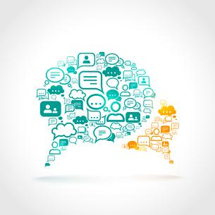Chat communication speech bubble set communication symbols concept vector illustrationのイラスト素材 [FYI03092406]