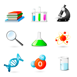 Science realistic  icons set with books beakers microscope magnifier isolated vector illustrationのイラスト素材 [FYI03092411]