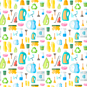 Cleaning washing housework dishes broom bottle sponge icons seamless pattern vector illustrationのイラスト素材 [FYI03092413]