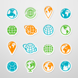 Sticker globe earth world map symbol icons set vector illustrationのイラスト素材 [FYI03092415]