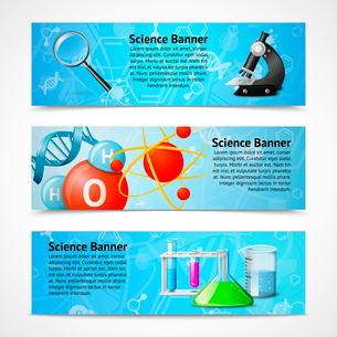 Science research education laboratory equipment banners isolated vector illustrationのイラスト素材 [FYI03092418]