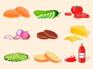 Hamburger food ingredients elements set of bread ketchup salad tomato isolated vector illustrationのイラスト素材 [FYI03092422]