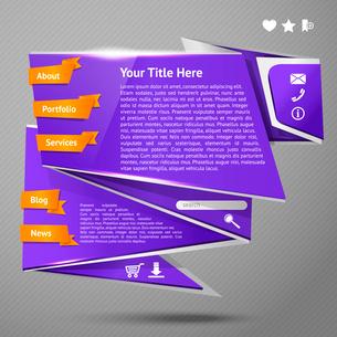 Blue original origami paper website page design template vector illustrationのイラスト素材 [FYI03092423]