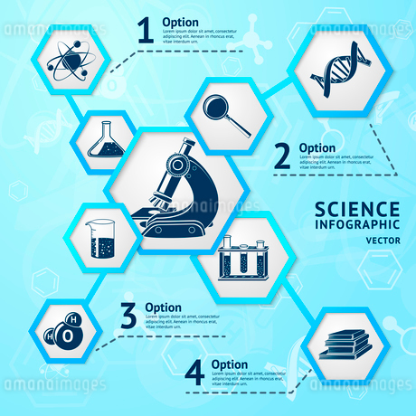 Science research hexagon education laboratory equipment business infographic vector illustrationのイラスト素材 [FYI03092425]