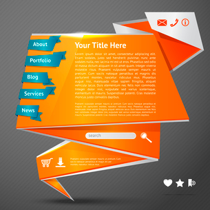 Orange origami paper website page design template with navigation icons vector illustrationのイラスト素材 [FYI03092426]