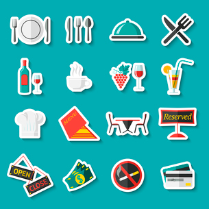 Restaurant food cooking and serving stickers set with menu wine table isolated vector illustrationのイラスト素材 [FYI03092429]