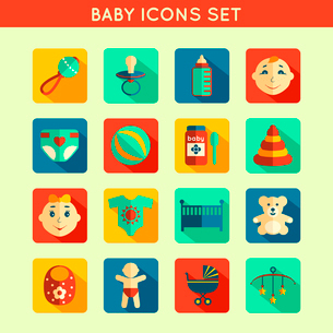 Decorative baby child icons set with bottle rattle toy ball boy and girl vector illustrationのイラスト素材 [FYI03092433]