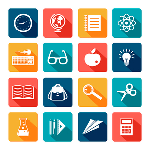 Education knowledge college and school flat icons set isolated vector illustrationのイラスト素材 [FYI03092439]