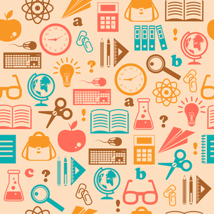 Education knowledge seamless wallpaper with school supplies book backpack vector illustrationのイラスト素材 [FYI03092441]
