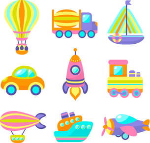 Toy transport cartoon icons set with train car plane isolated vector illustrationのイラスト素材 [FYI03092442]