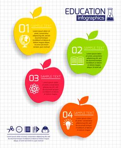 Apple education infographic set with school design elements vector illustrationのイラスト素材 [FYI03092443]