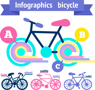 Bicycle sport fitness infographic elements with bike parts vector illustrationのイラスト素材 [FYI03092447]