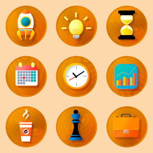 Wooden business icons set of space rocket lightbulb hourglass isolated vector illustrationのイラスト素材 [FYI03092449]