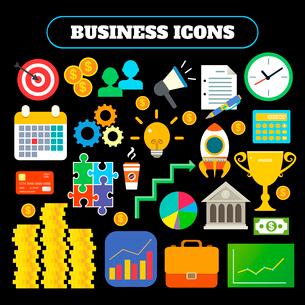 Business icons set of target money megaphone clock bank award vector illustrationのイラスト素材 [FYI03092450]