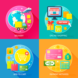 Business process concept of delivery online internet shopping add to cart and payment methods iconsのイラスト素材 [FYI03092451]