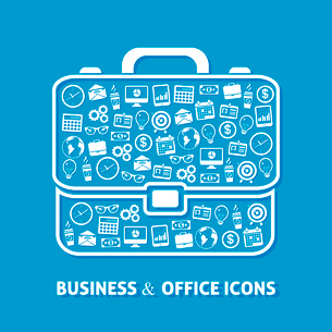 Briefcase office business concept of clock coffee  money globe icons vector illustrationのイラスト素材 [FYI03092453]