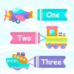 Toy transport cartoon decorative banners set with train boat plane isolated vector illustrationのイラスト素材 [FYI03092454]