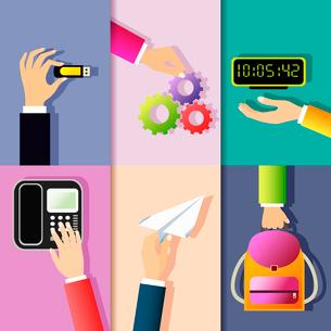 Business hands gestures design elements of holding memory stick cog wheel digital clock isolated vecのイラスト素材 [FYI03092455]