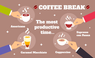 Coffee break business hands with espresso cappuccino cups vector illustrationのイラスト素材 [FYI03092456]